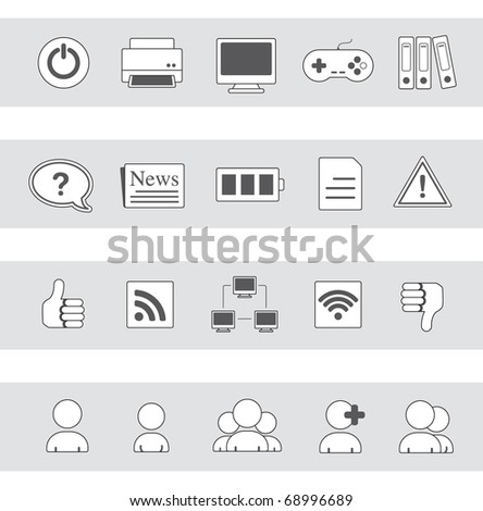 web & communication icons | grayscale series 02 - stock vector
