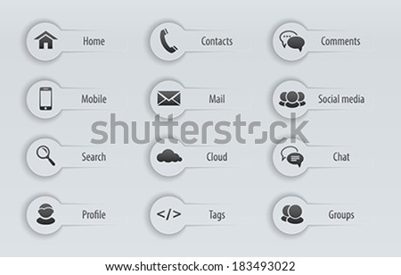 Web, communication icons with text labels: internet. Vector illustration - stock vector