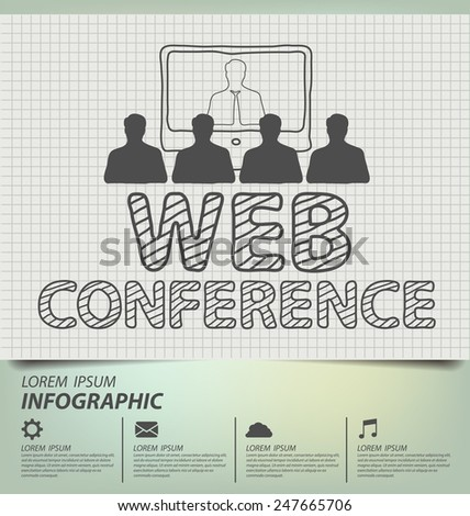 web conference concept. Business concept vector illustration. - stock vector