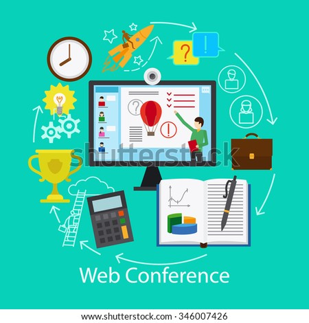 Web Conference Concept. Online work and study resources. Vector illustration.  - stock vector