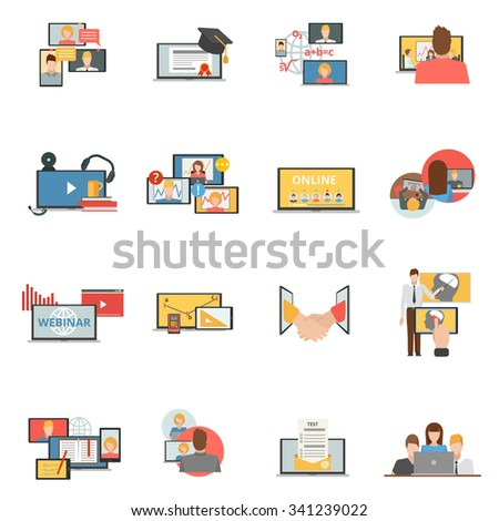 Web conferences meetings and seminars flat icons collection of online webinars trainings participants abstract isolated vector illustration - stock vector