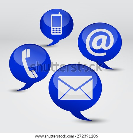 Web contact us Internet concept with email, mobile phone and at icon and symbol on four blue speech clouds for website, blog and on line business.