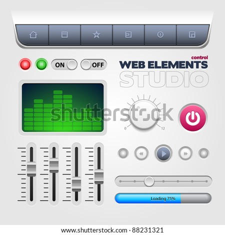 Web Control Elements Studio Style - stock vector