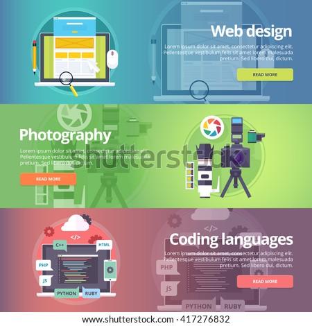 Web design. Art of digital photography. Coding languages. Programming skills. Digital technologies. Website development. Technological and digital production banners set. Vector design concept. - stock vector