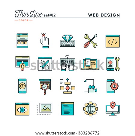 Web design, coding, responsive, app development and more, thin line color icons set, vector illustration - stock vector