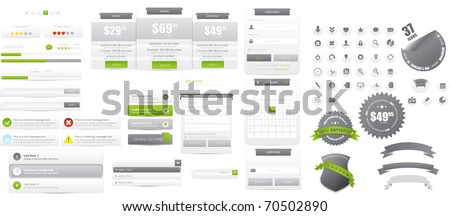 Web design elements collection with mega icons set - stock vector