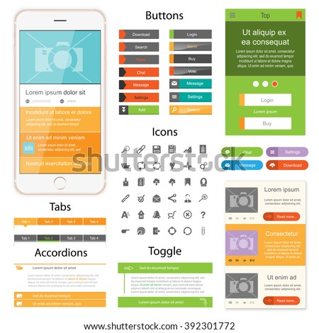 Web design elements for website or app. Collection of icons, buttons with tabs and toggles for website. Design for application. - stock vector