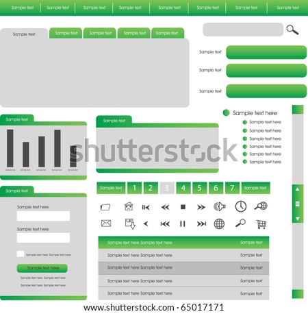 web design elements in green theme