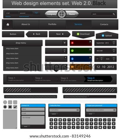 Web design elements set black. Vector illustration - stock vector