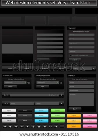 Web design elements set. Clean. Black - stock vector