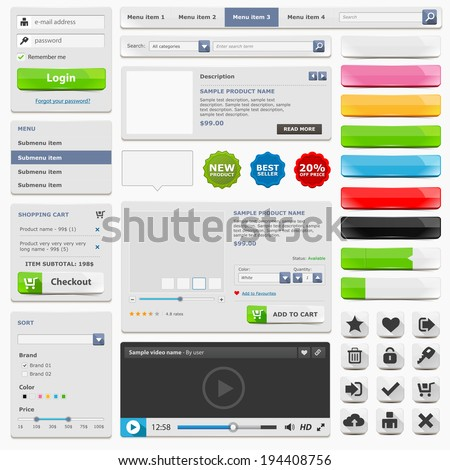 Web design elements set online shop with item card menu video icons and buttons easy to edit and isolated on white. Vector illustration - stock vector