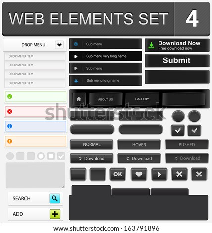 Web design elements set. Vector illustration - stock vector