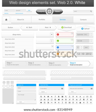 Web design elements set white. Vector illustration - stock vector