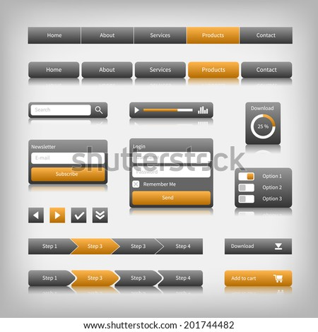 Web design elements with reflection. Login, search, 3 option. - stock vector
