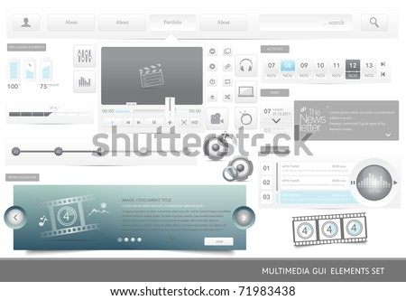 Web Design multimedia GUI elements set.