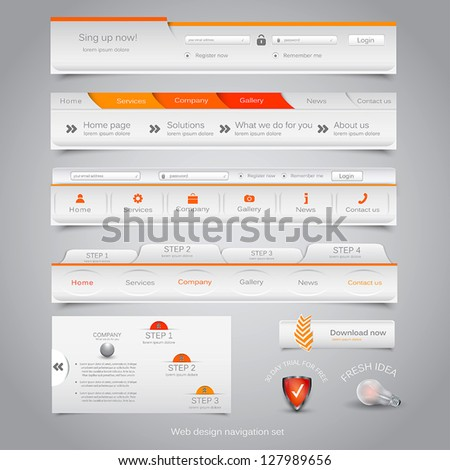 Web design navigation set. Vector - stock vector