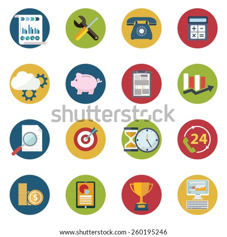 Web design objects, delivery, business, office and marketing items icons - stock vector