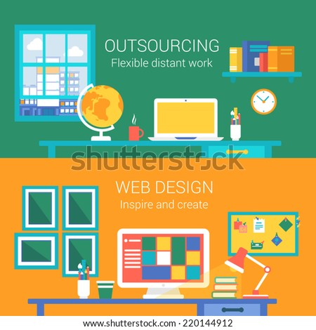 Work From Home Web Design : Web design outsourcing distant work concept flat icons set of telework