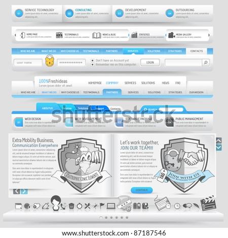Web design template elements with icon set - stock vector