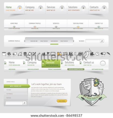 Web design template navigation set with icon set - stock vector