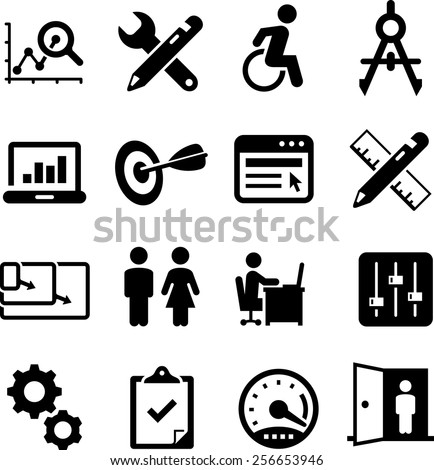 Web design, usability, UI and UX icon set. Vector icons for digital and print projects. - stock vector