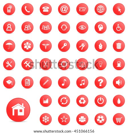 Web design vector icon set. Red round internet and app illustrations.