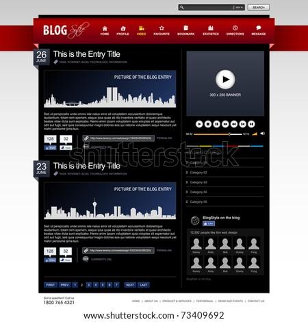 Web Design Website Element Dark Black Template - stock vector
