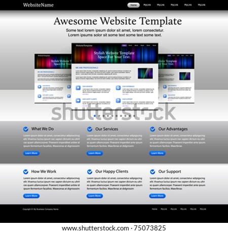 Web design website elements - bright template - stock vector