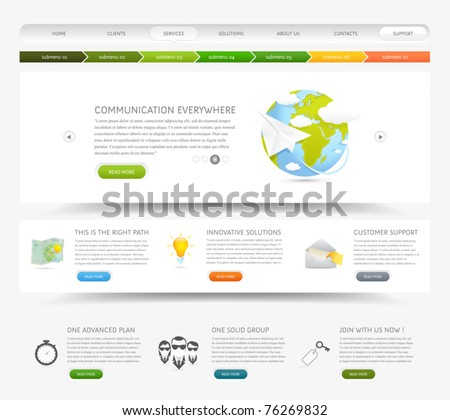 Web design website template with colorful icons - stock vector