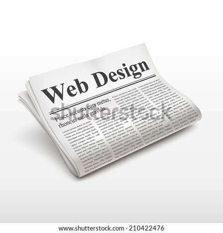 web design words on newspaper over white background