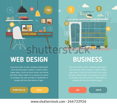 Web design workplace and business center vector illustration - stock vector