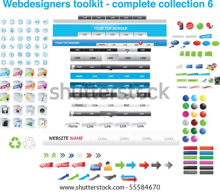 Web designers toolkit - complete collection 6 - stock vector