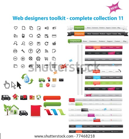 Web designers toolkit - complete collection 11 - stock vector