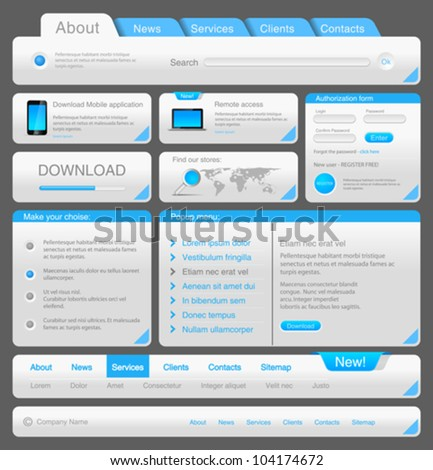 Web designers toolkit. Design elements collection. White Blue. Vector. Editable. - stock vector