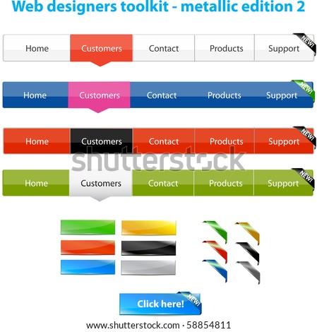 Web designers toolkit - metallic edition 2 - stock vector