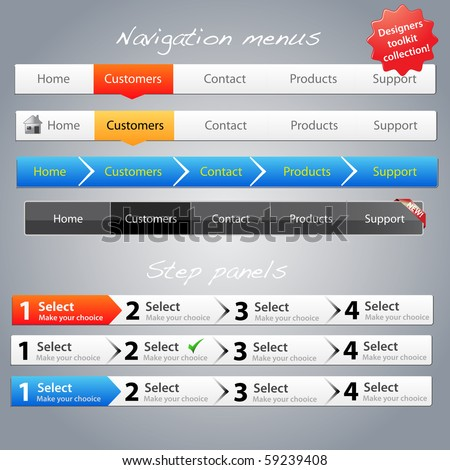Web designers toolkit - Navigation menus and step panels - stock vector