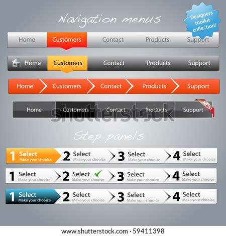 Web designers toolkit - Navigation menus and step panels part 2 - stock vector
