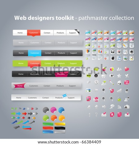 Web designers toolkit - pathfinder collection - stock vector
