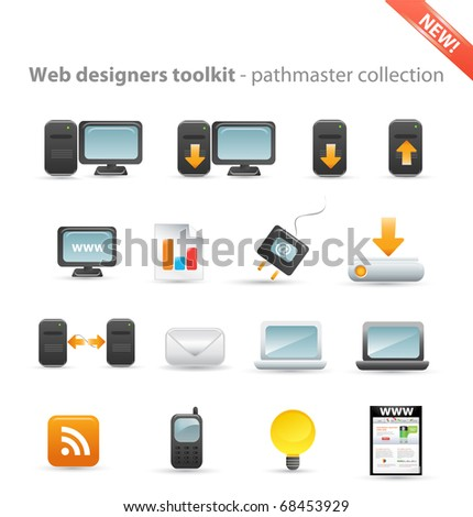 Web designers toolkit - pathmaster collection - computer icon set - stock vector
