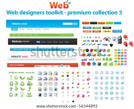 Web designers toolkit - premium collection 5 - stock vector