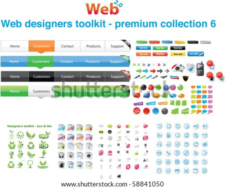 Web designers toolkit - premium collection 6 - stock vector