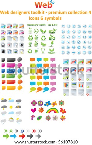 Web designers toolkit - premium collection 4, icons & symbols - stock vector