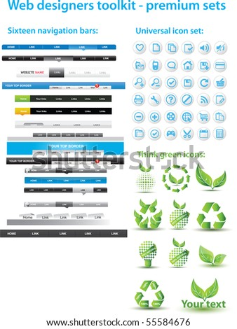 Web designers toolkit - premium sets - stock vector