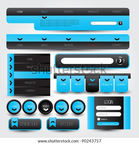 web designing element in blue and grey theme