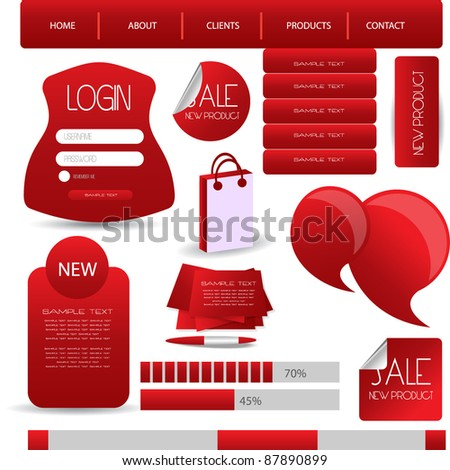 web designing element in red theme - stock vector