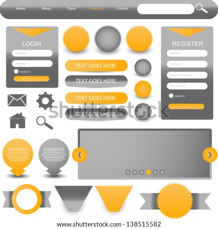 web designing element set - stock vector