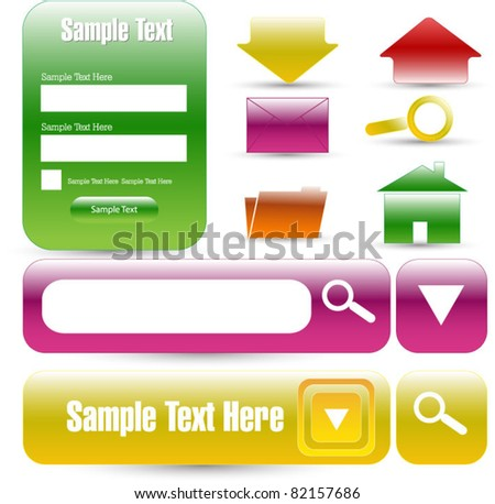 web designing glossy elements - stock vector