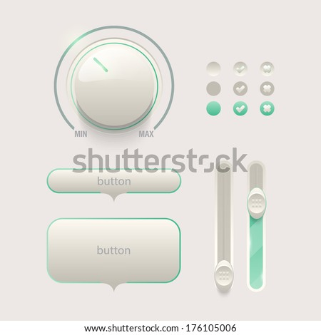 Web detailed UI elements design. Knob, switches and slider. - stock vector