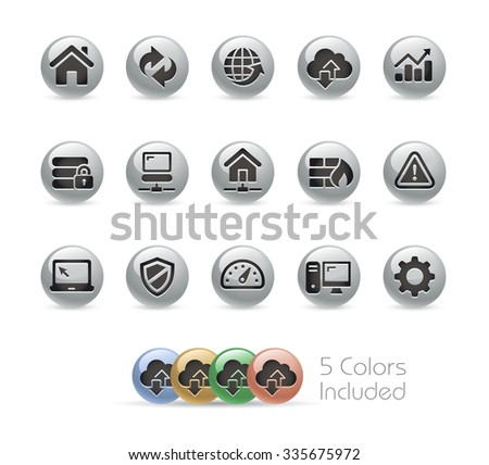 Web Developer Icons // Metal Round Series -- The vector file includes 5 color versions for each icon in different layers. - stock vector