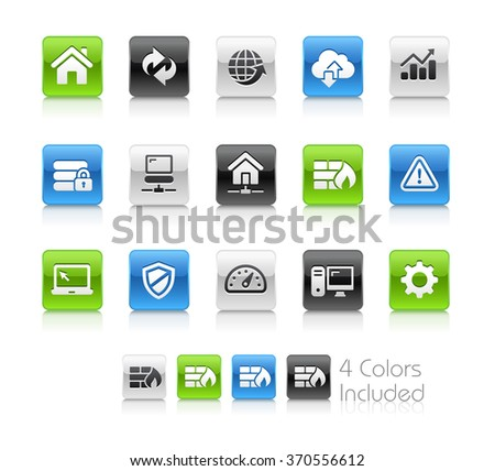 Web Developer Icons / The file Includes 4 color versions in different layers. - stock vector